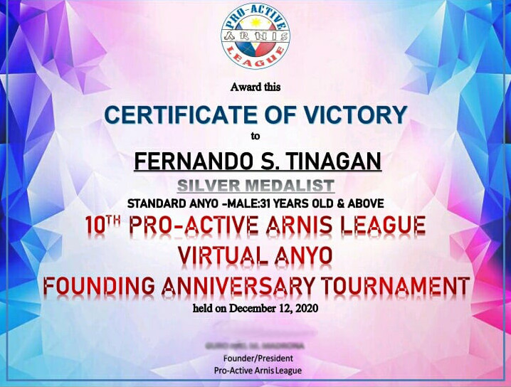 "UPV PE Professor and Students bag medals in National Virtual Arnis ""Anyo"" Tourney"